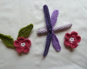 Crochet Pattern Set for Dragonfly and Rose and Rose Leaf - perfect for brooches, nature tables or Summer Wreaths and Decor