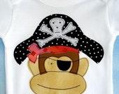 SALE - PDF ePattern Cute Monkey Applique Designs - Plain, Girl, Boy and Pirate