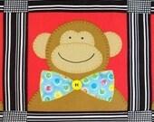 SALE - PDF e-Pattern - Bow Tie Monkey Quilt