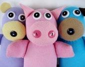 Toy Sewing Pattern for Sock Animals - Monkey, Giraffe, Zebra, Pig, Bear and Puppy -  PDF ePATTERN