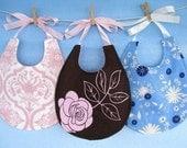 Baby Bib Sewing Pattern - Pretty Pieced Bib with Ribbon Ties - PDF ePattern