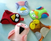 Bird Felt Finger Puppets Sewing Pattern - PDF ePATTERN for Owl, Cardinal, Flamingo, Bluebird & Parrot and Carrying Case