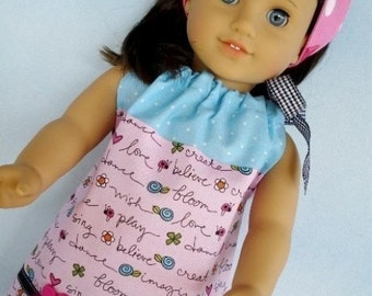 18 inch Doll Sewing Pattern - Pillowcase Dress, Shirt, Nightgown and Kerchief Hat - PDF e-Pattern