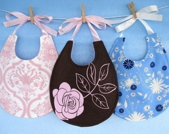 Baby Bib Sewing Pattern - Pretty Pieced Bib with Ribbon Ties - PDF ePattern