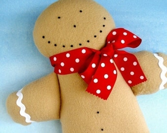 Christmas Gingerbread Man Toy Sewing Pattern - PDF ePATTERN and Snowman Doll-Gift Holders