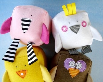 SALE - PDF ePATTERN - Bird Blocks Toy Sewing Pattern - Flamingo, Cockatoo, Chick, Owl, Parrot and Penguin