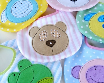 SALE - PDF ePattern for Baby Animal Appliques and Bib - Teddy, Panda, Dog, Monkey, Sheep and Frog - Sewing Pattern