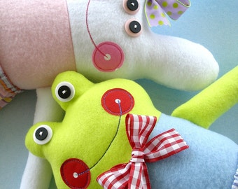 Doll Sewing Pattern for Belinda Bunny and Freddy Frog - PDF e-pattern