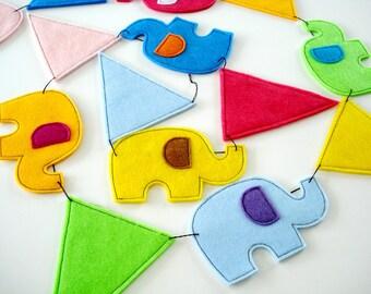 Felt Elephant & Pennant Banners Sewing Pattern - PDF ePATTERN