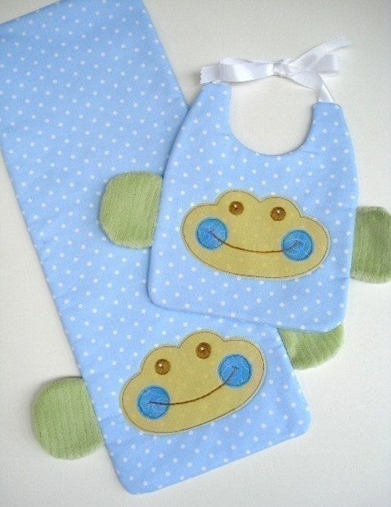 SALE - PDF ePattern for Monkey and Sheep Bibs with Ribbon Ties and Burp Pads