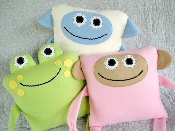 SALE - PDF ePATTERN for Monkey, Sheep and Frog Pillow - Toy Sewing Pattern