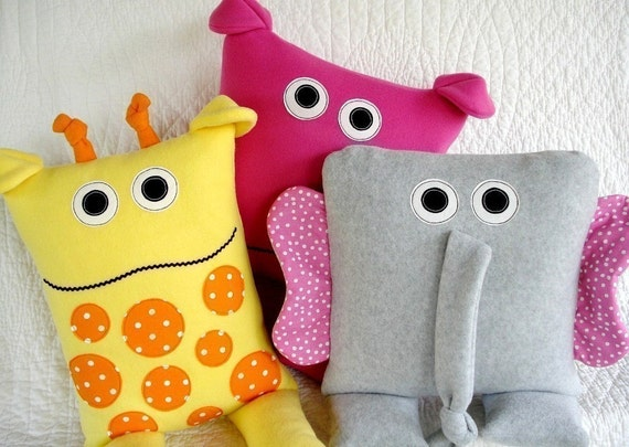 Animal Pillow Patterns To Sew : SALE PDF ePATTERN for Giraffe Elephant and Hippo Pillows
