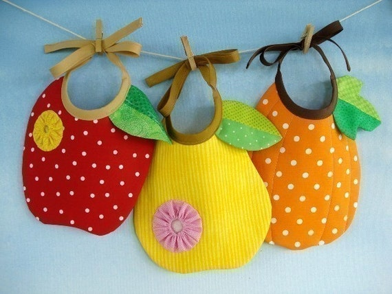 SALE - PDF ePattern for Apple, Pear and Pumpkin Baby Bib Sewing Pattern