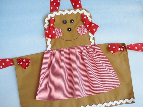 Apron Christmas Sewing Pattern for Children Gingerbread