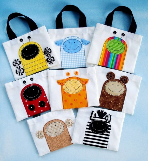 Sewing Pattern - Mini Tote Bags with Critter Appliques - Ladybug, Beetle, Bumble Bee, Monkey, Sheep, Bear, Giraffe and Zebra - PDF ePattern