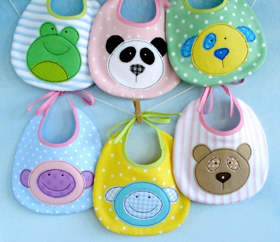 SALE - PDF ePattern for Baby Animal Appliques and Bib - Teddy, Panda, Dog, Monkey, Sheep and Frog Sewing Pattern