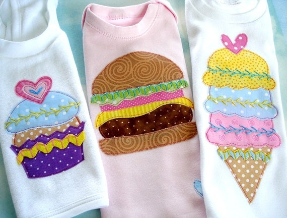 Applique Designs - Fun Food - Cupcake, Strawberry, Cheeseburger and Ice Cream Cone - PDF ePattern