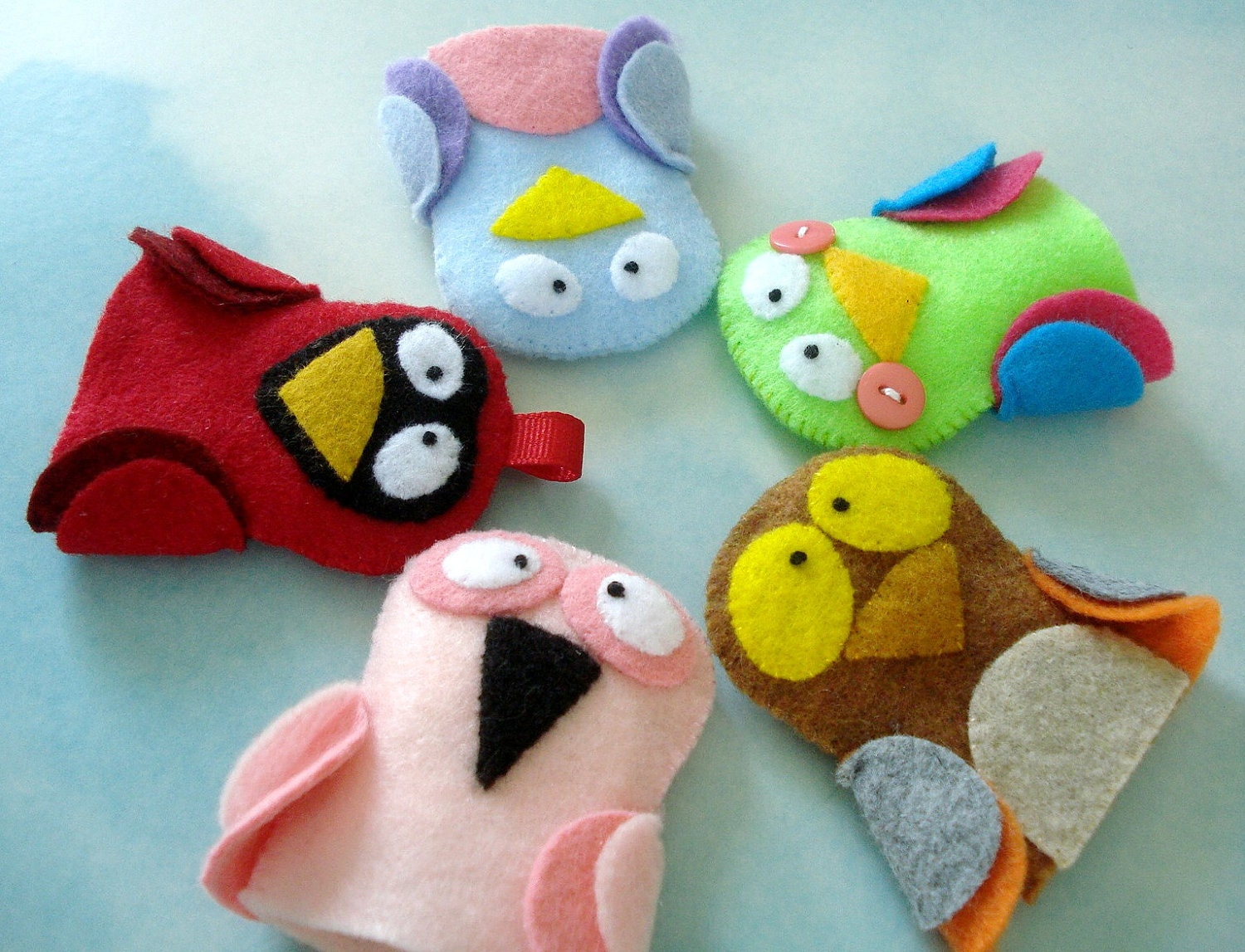 Bird Felt Finger Puppets Sewing Pattern PDF ePATTERN for