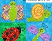 Cute Bug applique set-machine embroidery design-ladybug, dragonfly, snail, butterfly