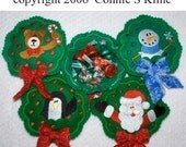 Christmas Wreath Candy Cozies-Machine embroidery design-set of 4-  4x4 hoop