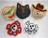 Halloween sucker cover set of 4-cat, mummy, skull and scarecrow 4x4 hoop machine embroidery