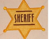 Sheriff Badge embroidery machine applique cute for your cowboy or cowgirl 4x4 hoop