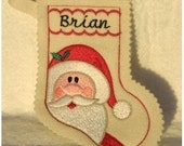 Santa Christmas stocking-embroidery machine design-completely sewn by machine
