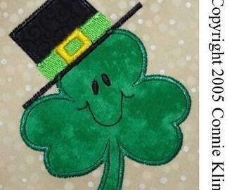 Saint Patricks day Shamrock applique machine embroidery design CUTE