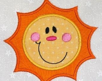 Cute Sunshine machine embroidery applique design 4x4 hoop size SUMMER FUN