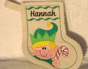 Elf Christmas stocking-embroidery machine design-completely sewn by machine