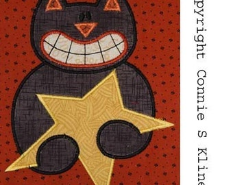 Halloween Cat holding Star embroidery machine applique 5x7 hoop