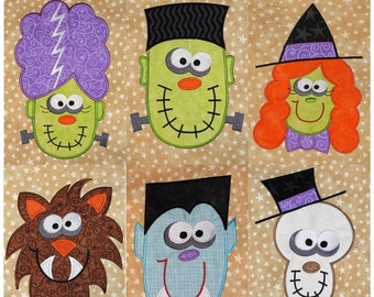 Halloween applique set with Crazy Eyed Monsters Machine Embroidery designs Wolf, Frank, Dracula...
