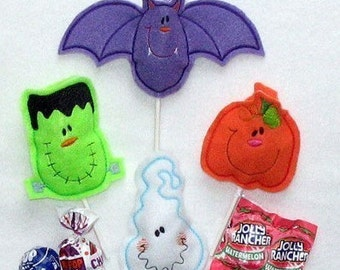 Halloween Sucker Cover set of 4-ghost pumpkin bat and frankenstein CUTE