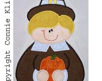 Pilgrim Boy with pumpkin Machine Embroidery Applique 5x7 hoop Fall-Thanksgiving CUTE