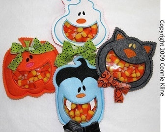 Open Mouth Halloween Candy Cozy set- hoop size 5x7- Pumpkin, Dracula, Ghost, and Cat-Machine Embroidery designs set of 4 designs