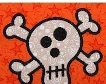 Halloween Skull and Cross Bones applique Machine Embroidery design 4x4 hoop
