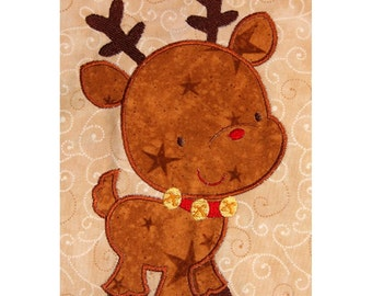 Zenware Reindeer applique machine embroidery design 4x4 or 5x7 Christmas FUN