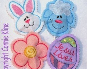 Easter Sucker Covers set of 4 Machine embroidery designs 4x4 hoop Bunny Lamb Egg and flower