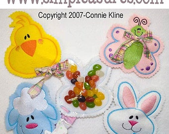 Easter Candy Cozies set of 4 Machine embroidery designs butterfly lamb bunny and chick 4x4