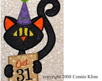 Halloween October Cat applique embroidery design--Fun For Fall