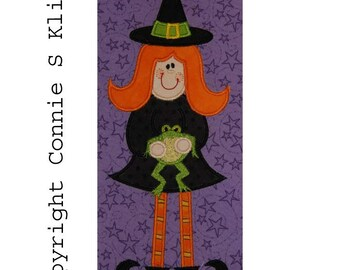 Large Halloween Standing Witch holding Frog embroidery machine applique