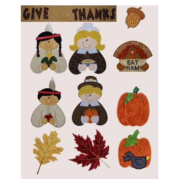Items similar to thanksgiving applique set machine