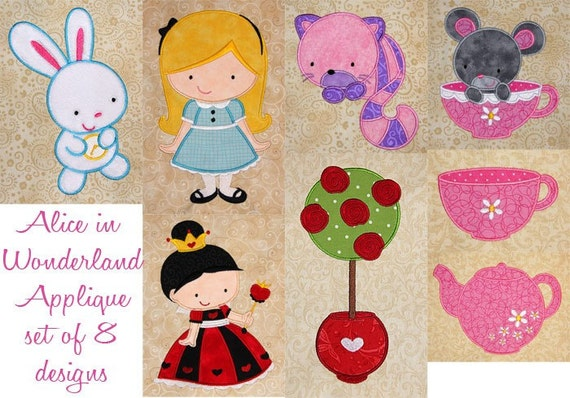 Alice in Wonderland set of 8 appliques machine embroidery designs for 5x7 hoop