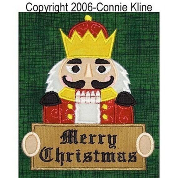Christmas nutcracker holding sign applique-machine embroidery design