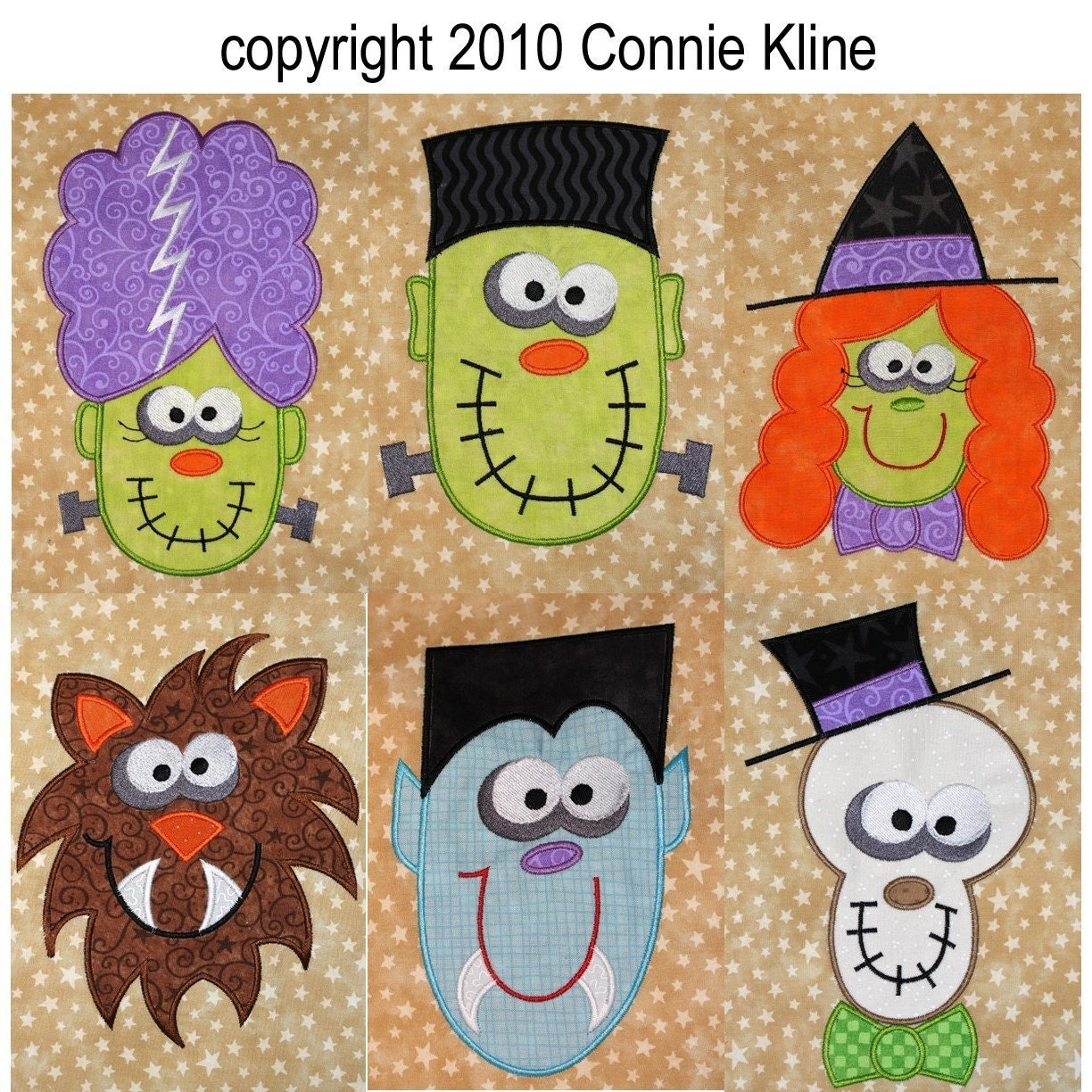 Halloween applique set with crazy eyed monsters machine