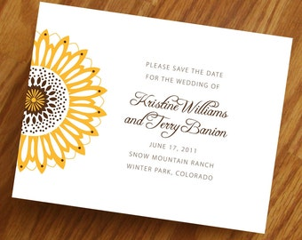 Sunflower Save the Date, wedding invitations, sunflower, brown, yellow, navy