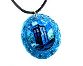 Doctor Who Inspired Teal Starry Night TARDIS Necklace, Handmade Pendant by Bohemian Bear