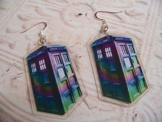 Purple & Green Psychedelic Police Box Earrings, Doctor Who Inspired TARDIS Design by Bohemian Bear
