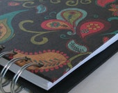 Daily Food Journal-Great for tracking Weight Watchers Points with Colorful Paisley, Black & Turquoise Floral Bird Cover
