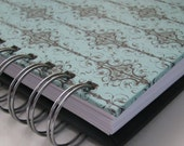 Address Book Includes Replacement Labels with Black on Turquoise Damask Cover